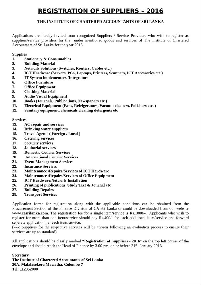 Registration Of Suppliers 2016