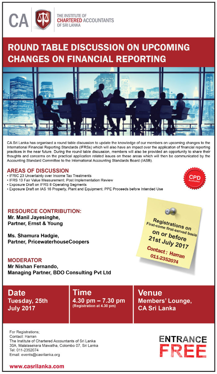 Round table discussion flyer - Round Table Discussion On Upcoming Changes On Financial Reporting