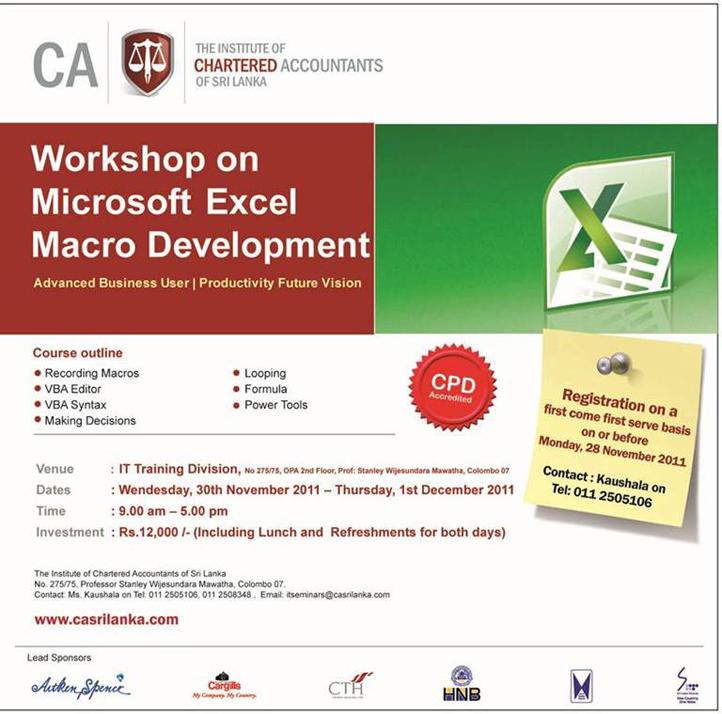 Workshop on Microsoft Excel Macro Development