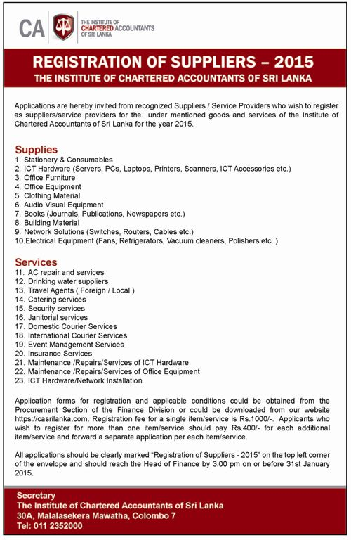 Registration Of Suppliers 2015